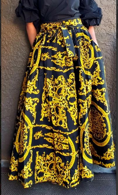 Image of Royal Highness Maxi Skirt- Black/Gold One Size Fits Sm to 3X