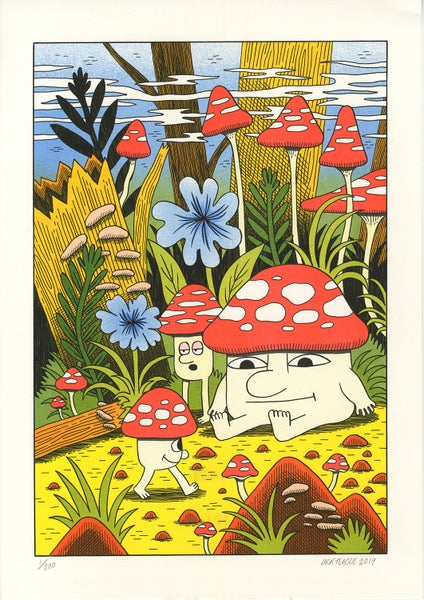 Image of Mushroom World - A3 risograph print