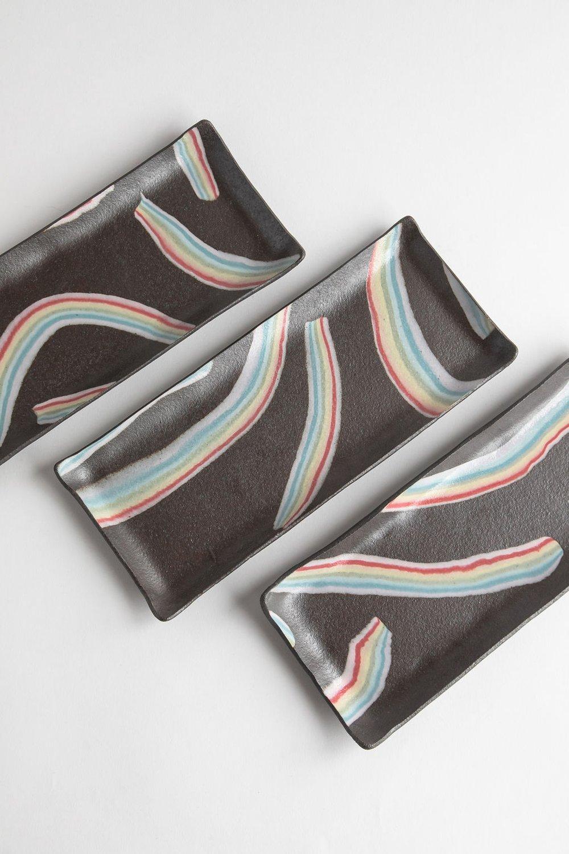 Image of Rainbow on Dark Sky - Long Rectangle Porcelain Inlay Serving Platter