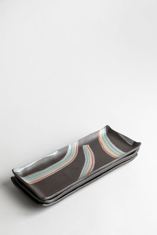 Image of Rainbow on Dark Sky - Long Rectangle Porcelain Inlay Serving Platter