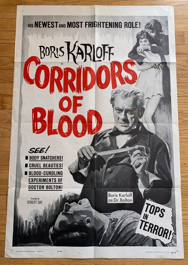 Image of 1963 CORRIDORS OF BLOOD Original U.S. One Sheet (black and white version)