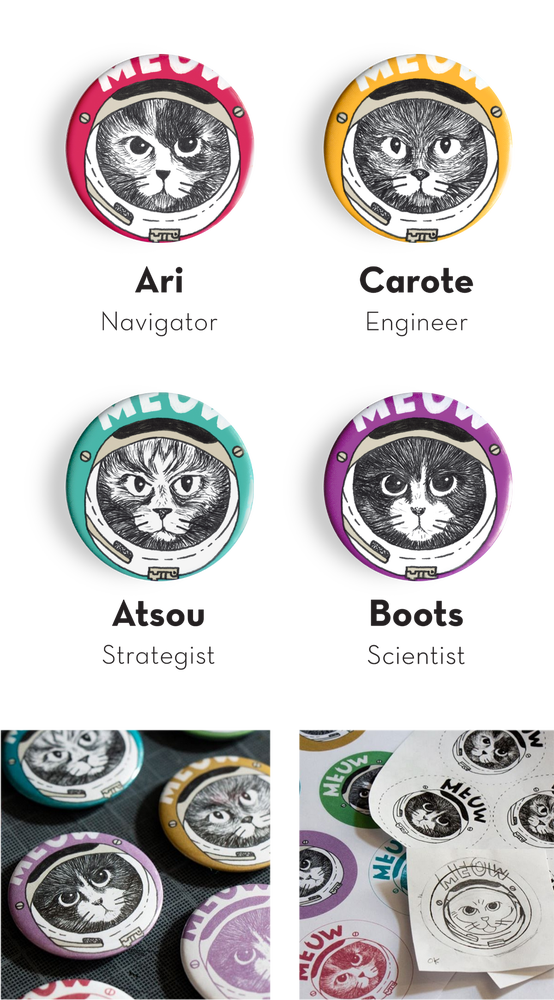 Image of Cosmo Kitten badge button