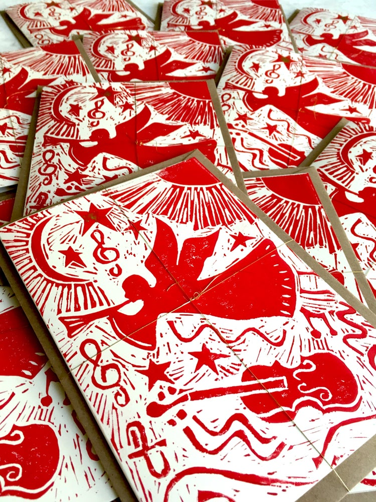 Image of Angel hand block printed Christmas card