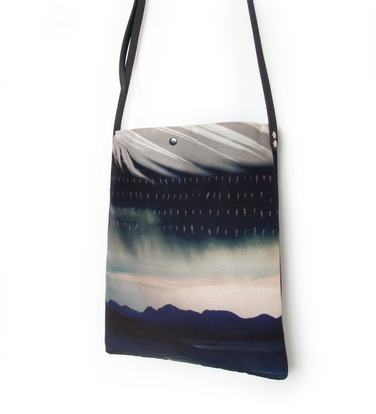 Image of Storm landscape tote shoulder bag with crossbody leather strap