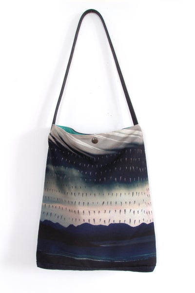 Image of Storm landscape tote shoulder bag with leather strap