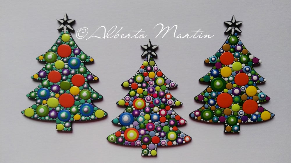 Image of Christmas Tree Ornaments- Dot Art Christmas ornaments. Set of 3. Colorful 2