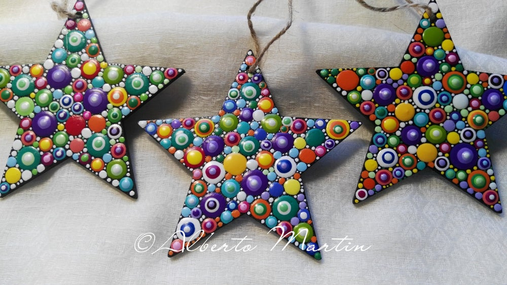 Image of Christmas Stars Tree Ornaments- Dot Art Christmas ornaments. Set of 3.