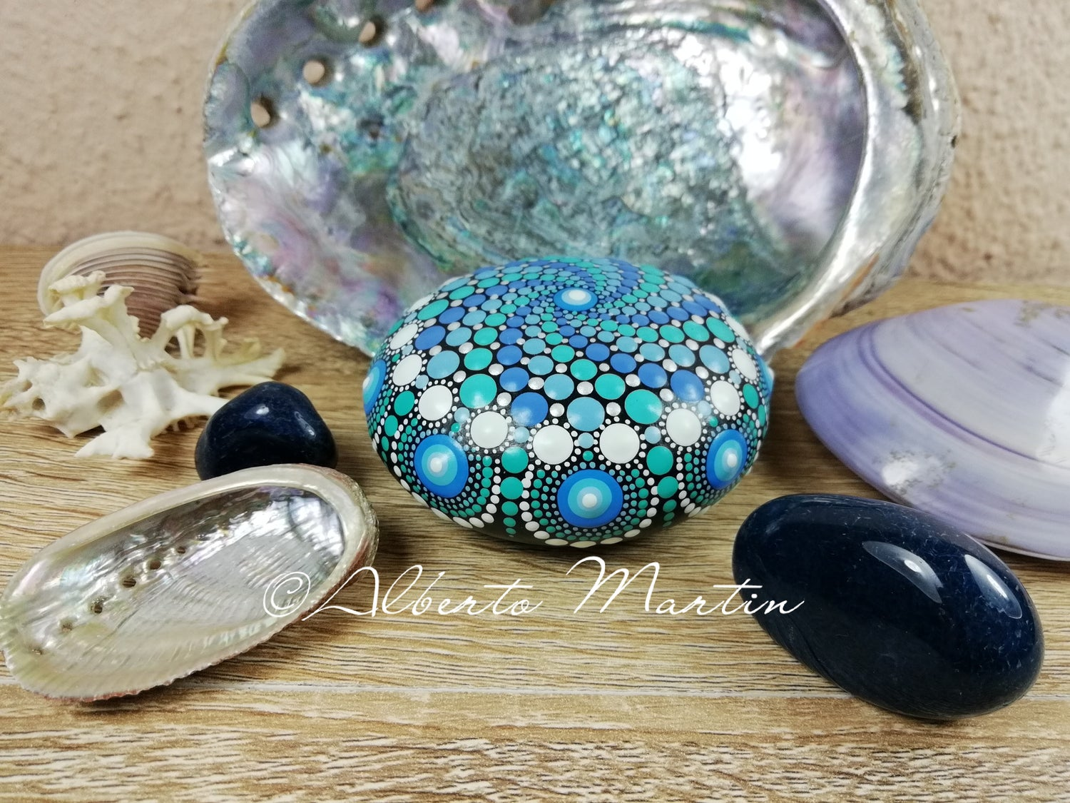 Image of Ocean waves Painted stone 1- Dot art Stone- Blue, Mermaid tears