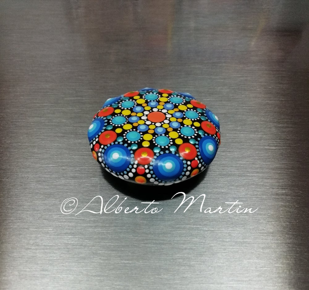 Image of Mandala stones fridge magnet by Alberto Martin- Blue- yellow