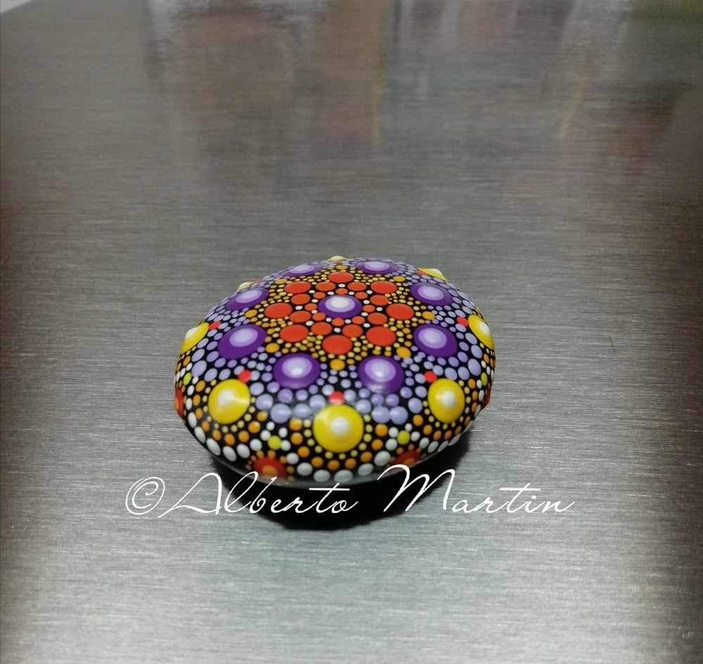 Image of Mandala stones fridge magnet by Alberto Martin- purple- yellow