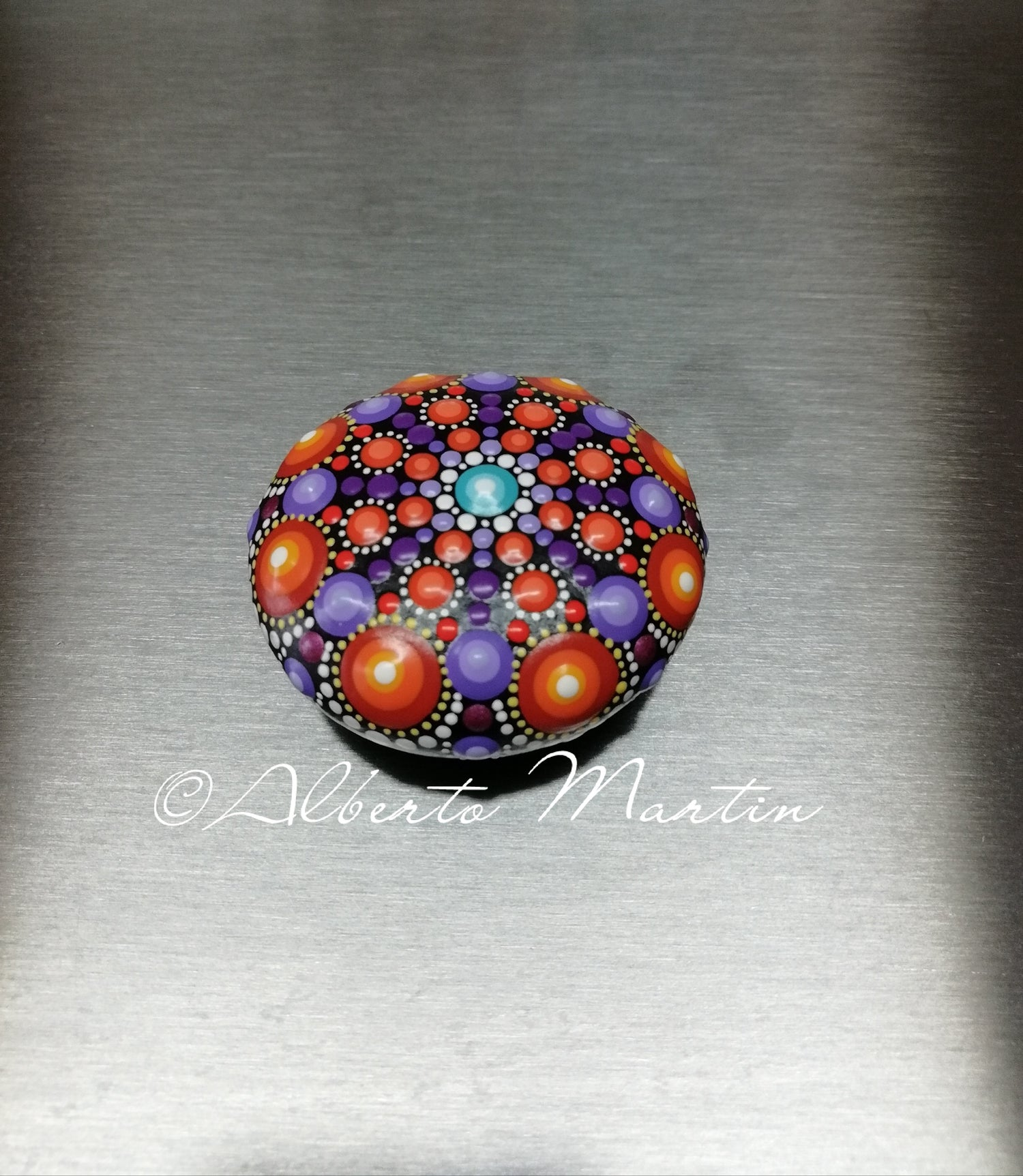 Image of Mandala stones fridge magnet by Alberto Martin- purple- orange
