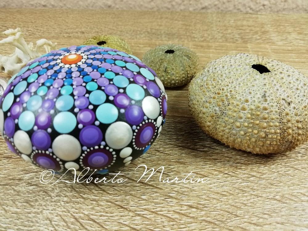 Image of Erizo de Mar- Sea Urchin Stone 2- Dot painted stone- Purple, blue- Mandalaole