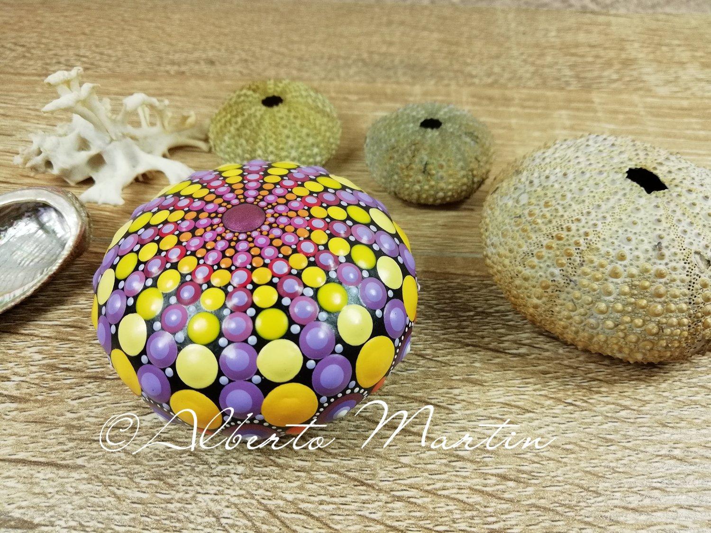 Image of Erizo de Mar- Sea Urchin Stone 3- Dot painted stone. Mandalaole