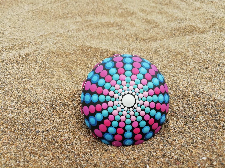 Image of Sea urchin stone 4 Blue, purple, pink- Dot Art by Alberto Martin