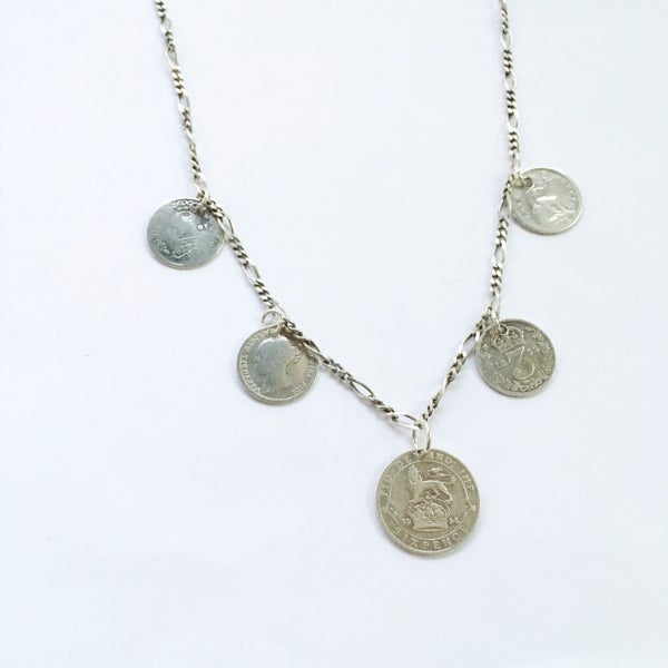 Image of Mixed Coin Necklace - Vintage Sterling Silver - 180 year old coin - version 1