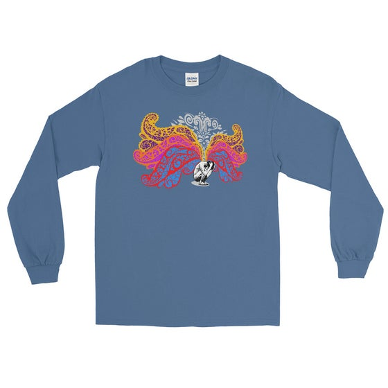 Image of Burden Of Light Gildan Mens Long Sleeve Tee Indigo