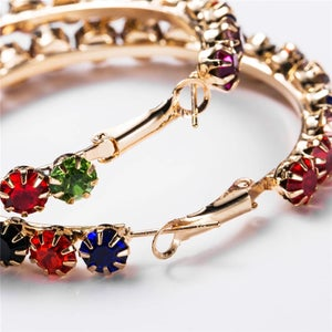 Image of Large Colorful Rhinestone Hoops