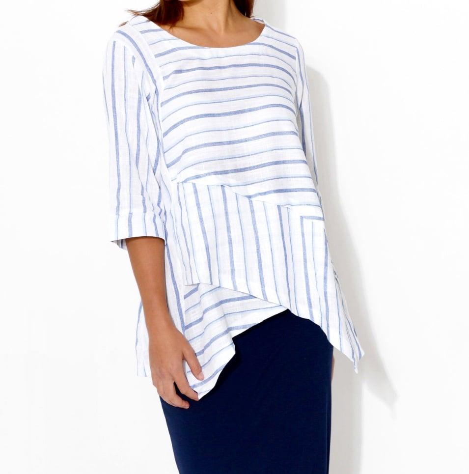Image of Asymmetrical  Linen/Cotton Top - Stripe