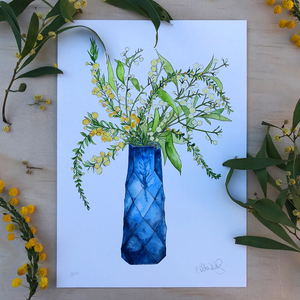 Image of Gold Dust Wattle - Blue Vase Series