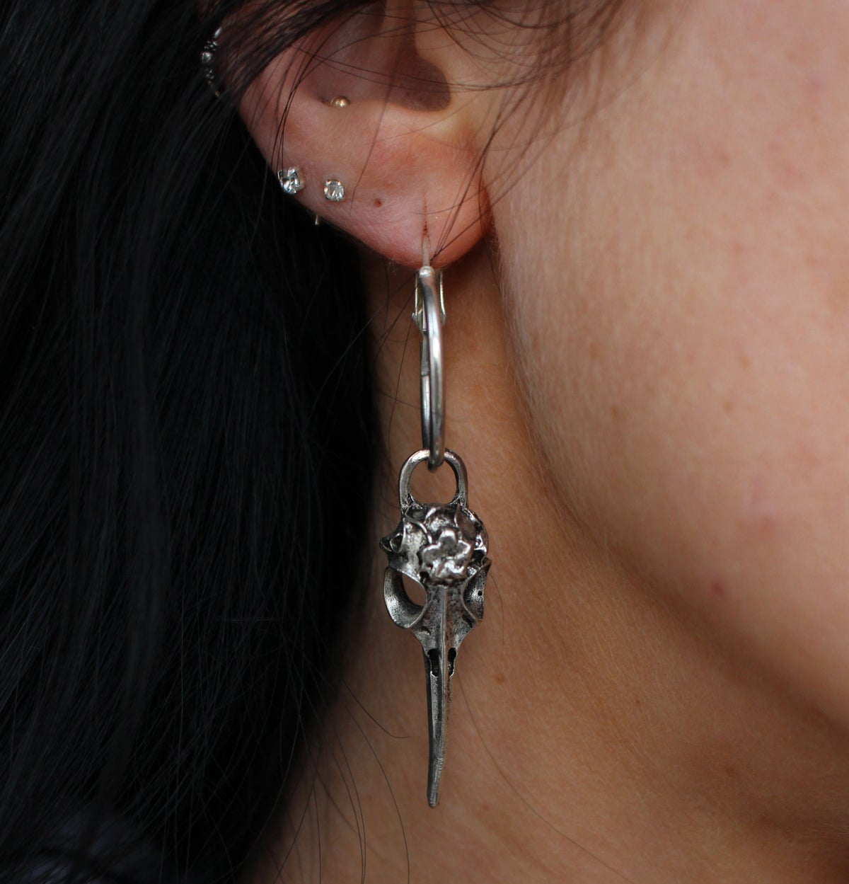 Image of Raven Skull Hoops