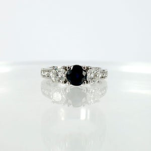 Image of Three stone diamond and Sapphire trilogy style ring