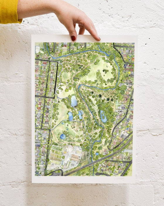 Image of Darebin Parklands Map -A4 and  A3 Limited Edition Giclee Print