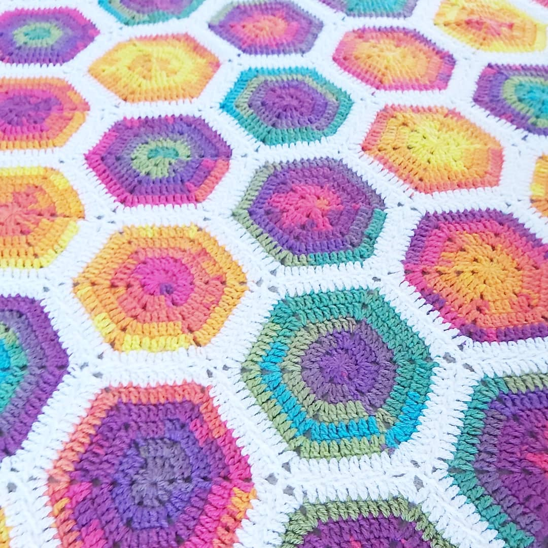 Image of Rainbow Hexagon Blanket