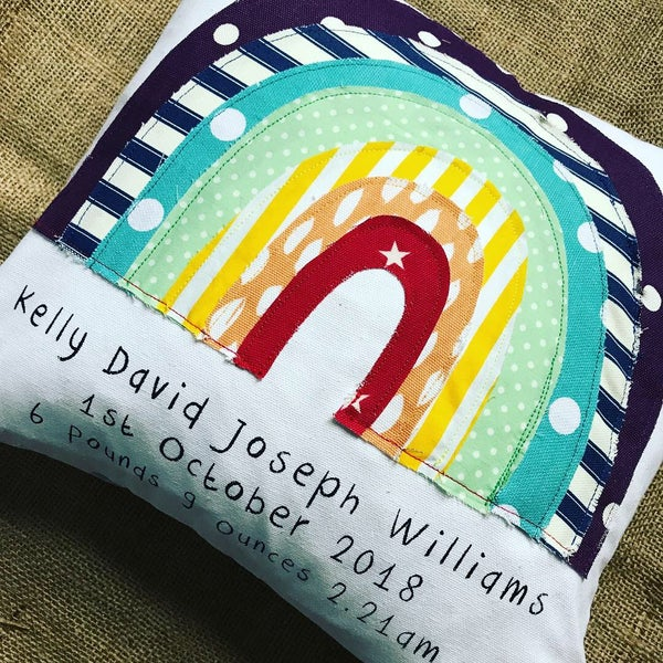 Image of Bright Rainbow personalised cushion