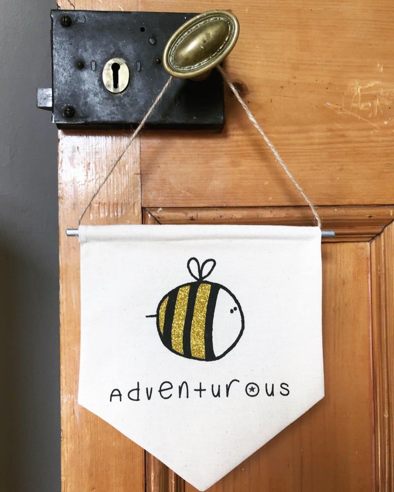 Image of Glitter Bee Wall Hanging - Bee Adventurous - Bee Happy - Bee Kind