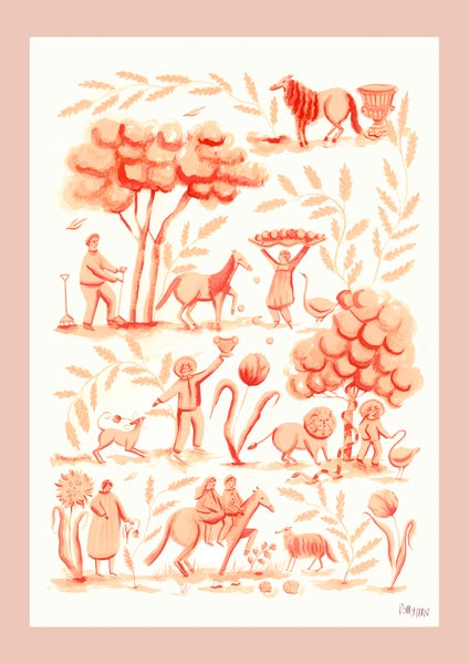 Image of Peach Toile - large Giclee print