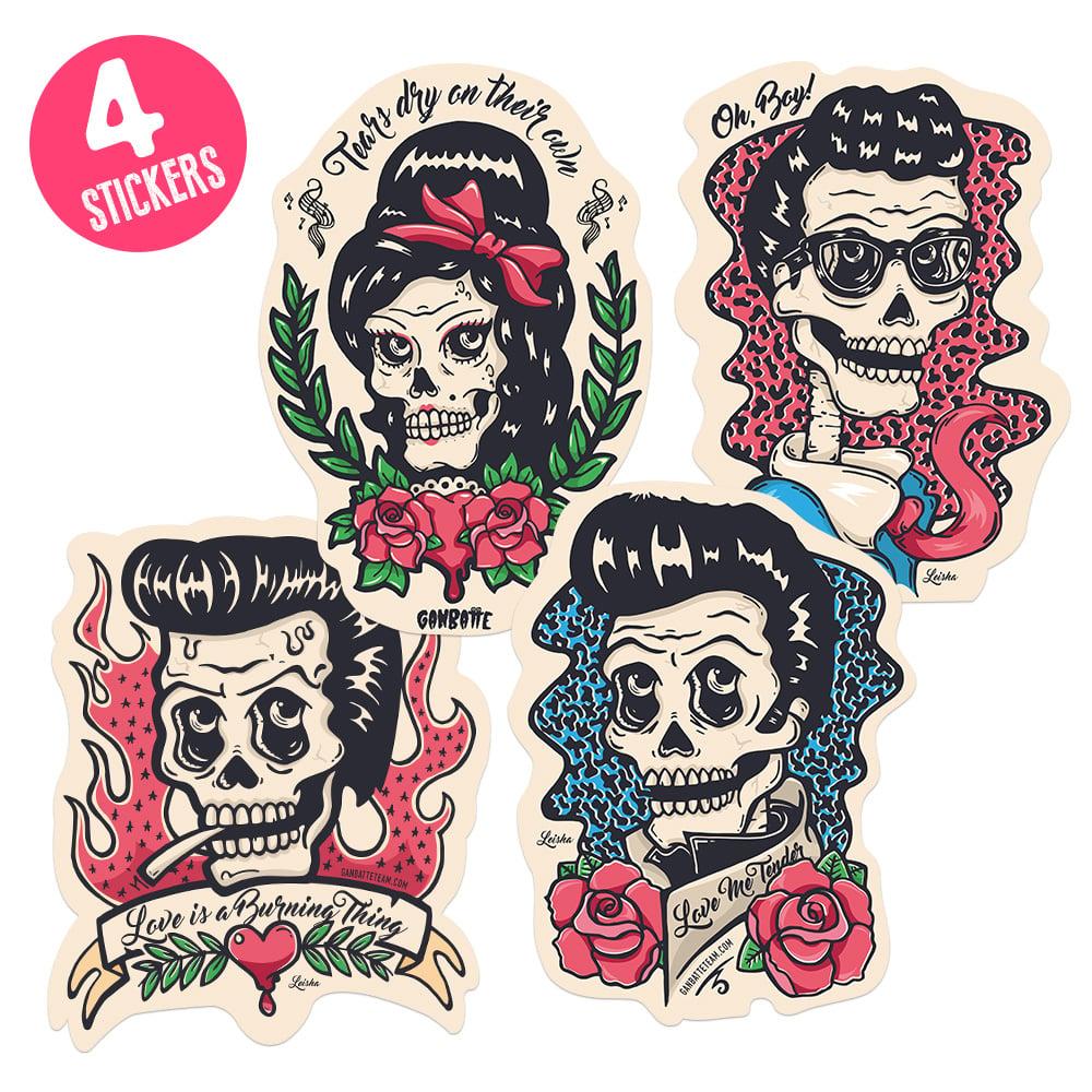 Image of Johnny Cash Sticker Elvis Presley Sticker Buddy Holly Sticker Amy Winehouse Sticker