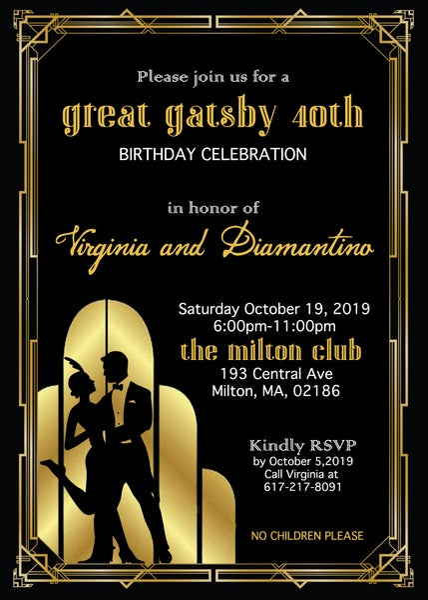Image of Great Gatsby Birthday Invitation
