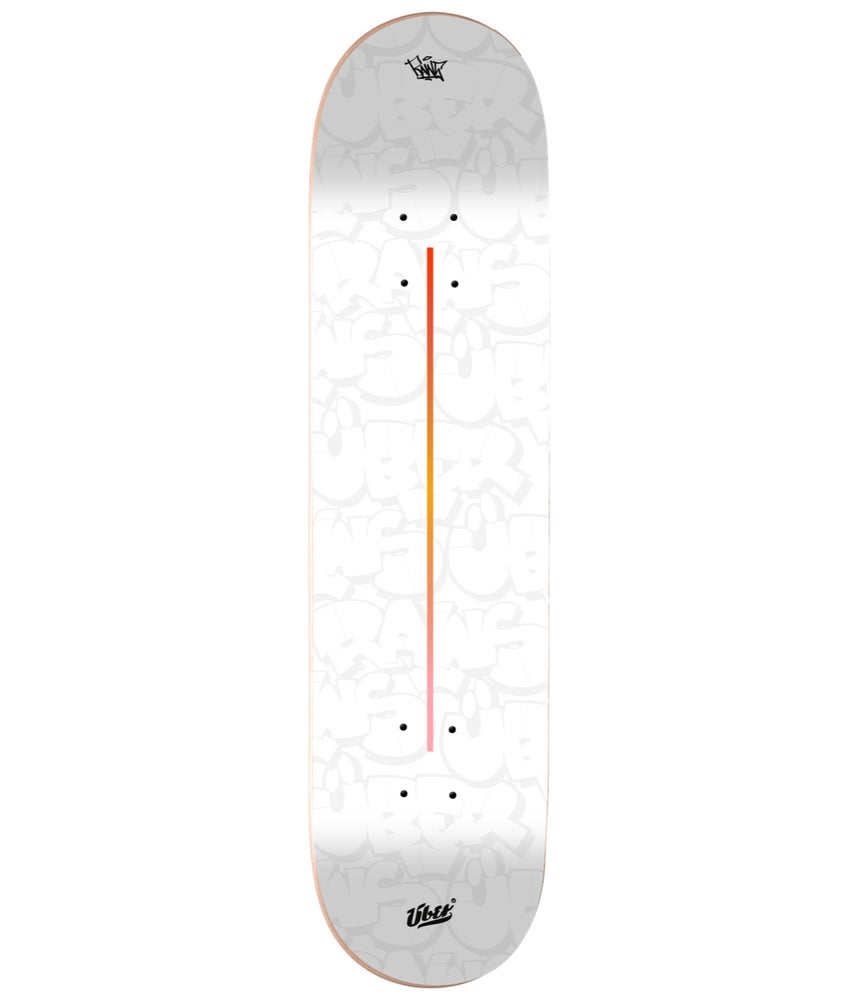 Image of RAWS X ÜBER | Skatedeck (White) SIGNED BY RAWS