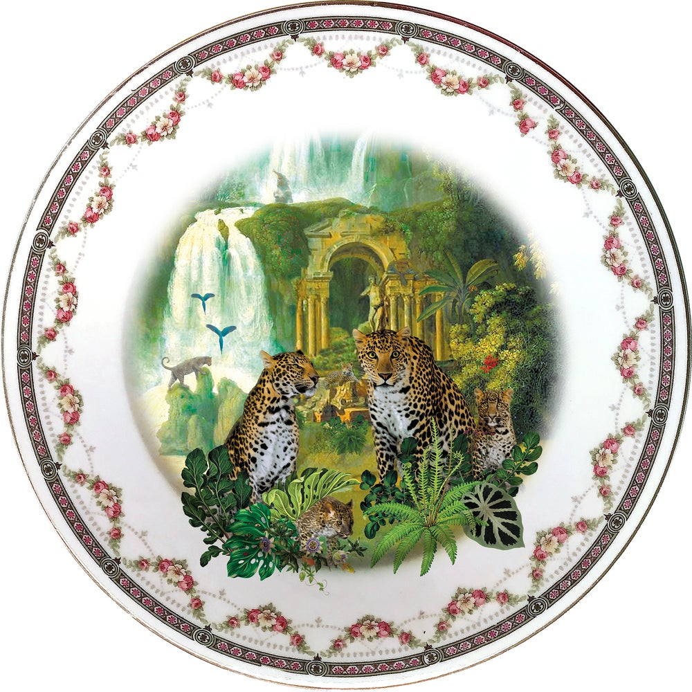 Image of Leopards - Limoges Porcelain Plate - #0660