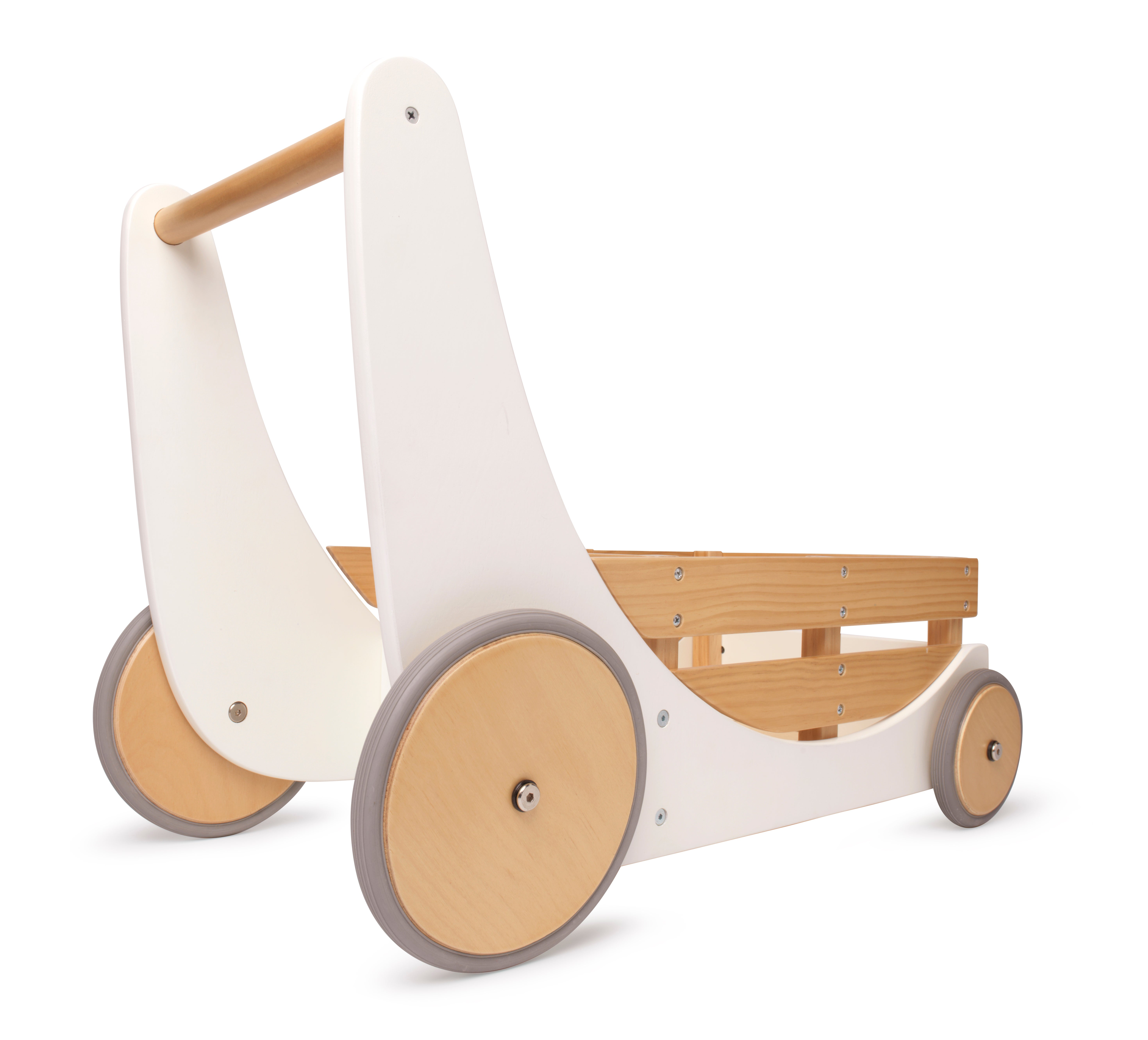 Kinderfeets 3626 2-in-1 Wooden Cargo Walker Wagon for Children and Toddlers with Rubber Wheels Blue