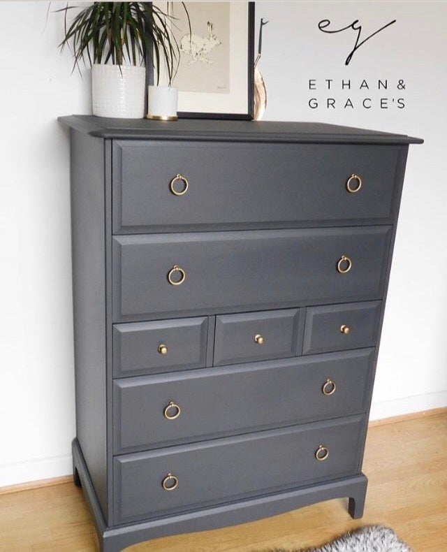 Image of Large stag mahogany Tallboy dark grey