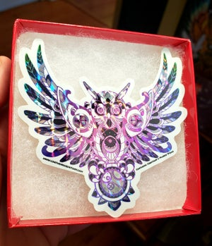 Image of (2) Timekeeper Owl Prismatic Sticker LE 100