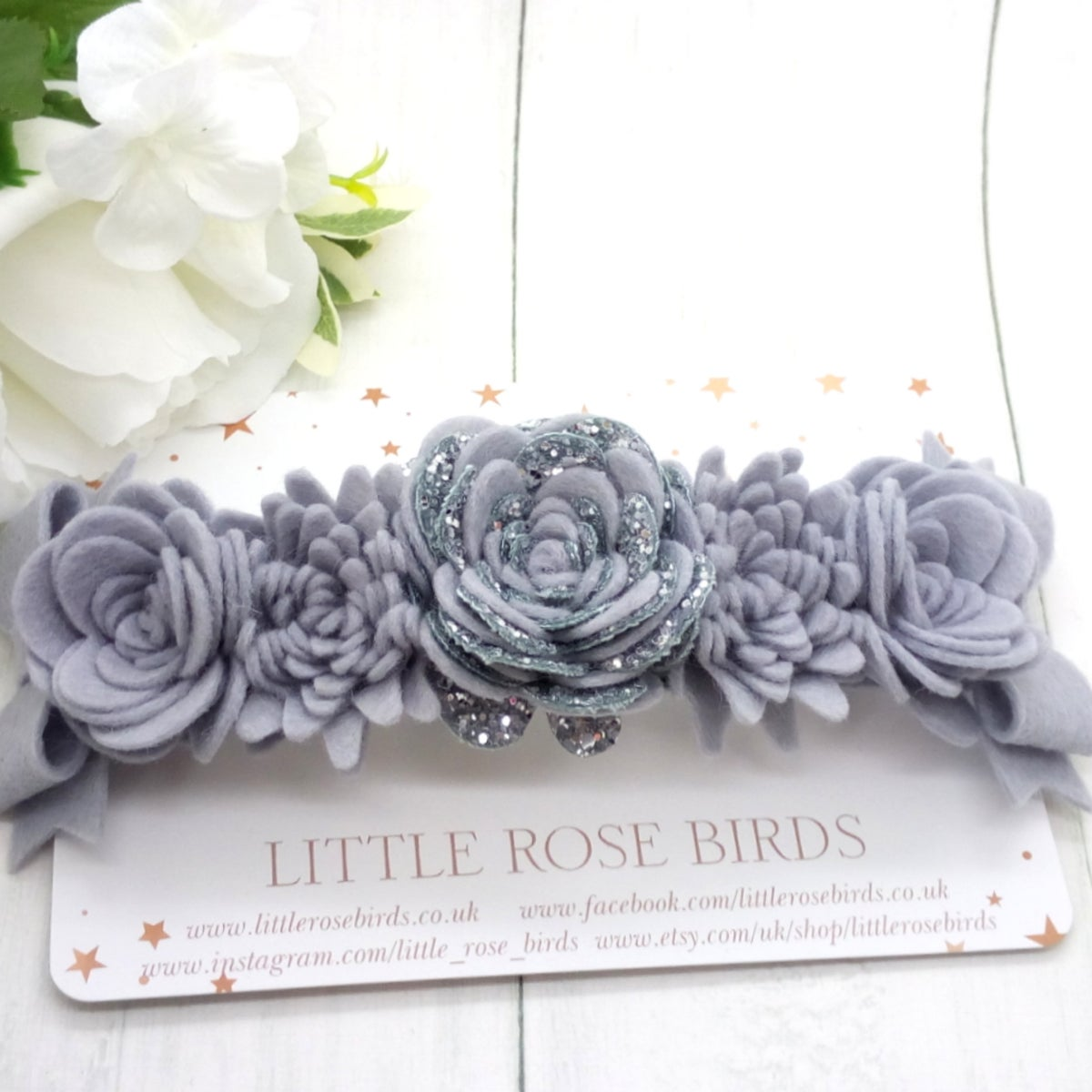 Image of Grey Lux Flower & Bow Headband