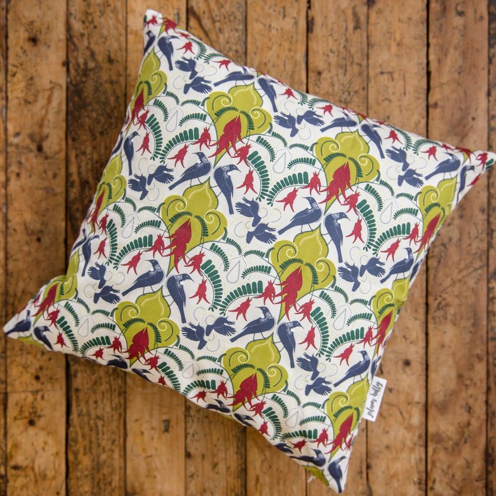 Image of Kākābeak & Tūī Damask  (Cream/Green) Cushion Covers