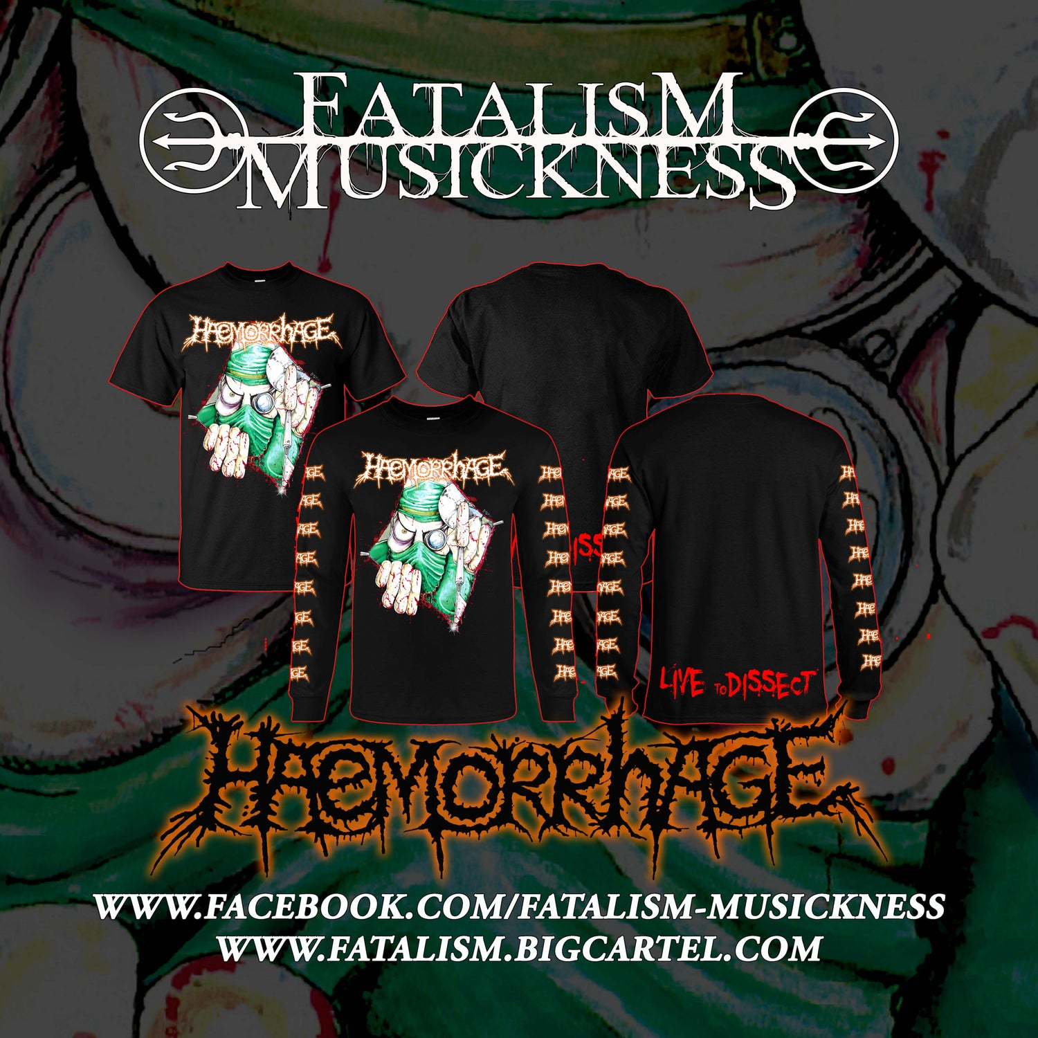 Image of HAEMORRHAGE - Merch Single Item (SS/LS) & Bundle Package (SS/LS + Tape)