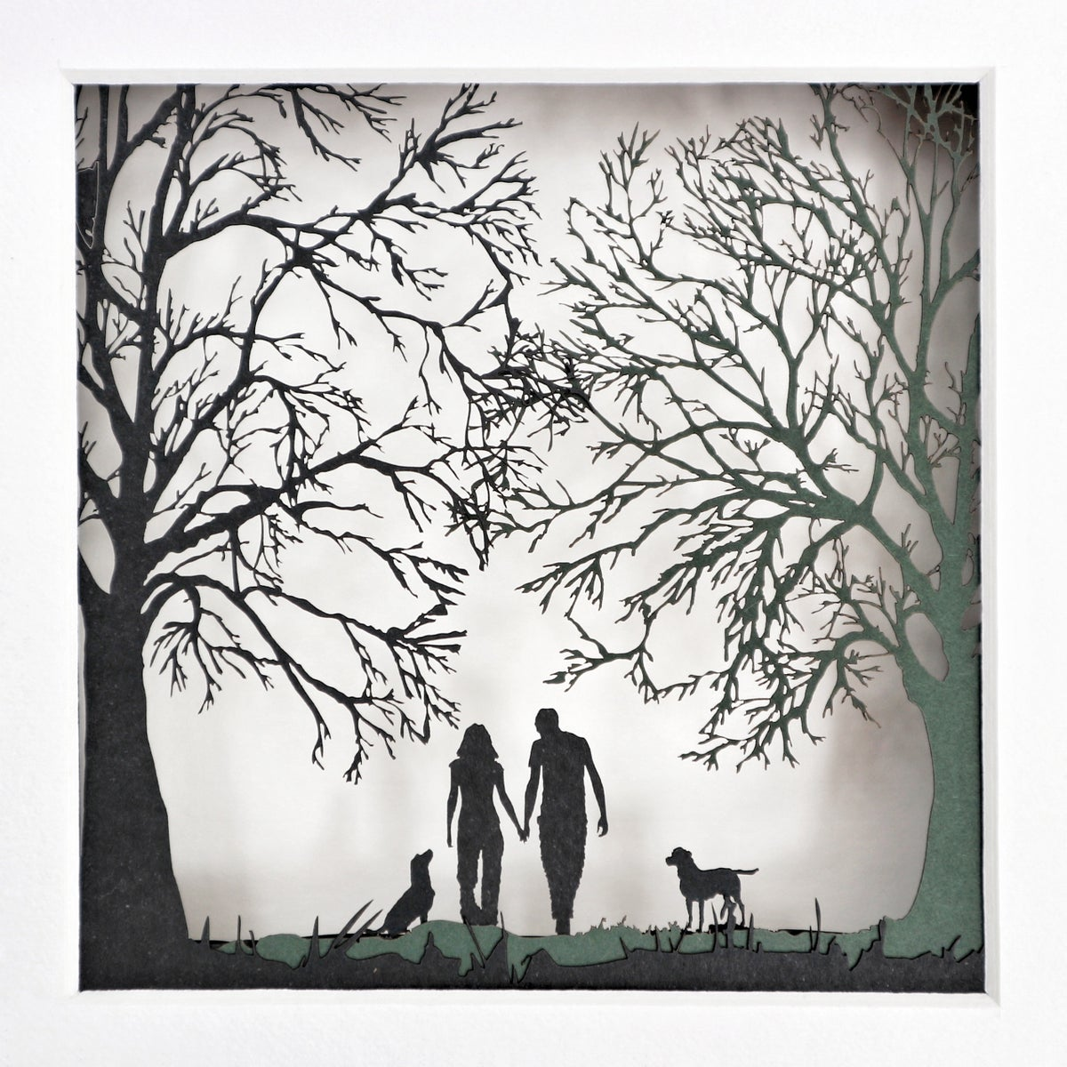 Image of Taking The Dogs For A Walk Papercut Picture