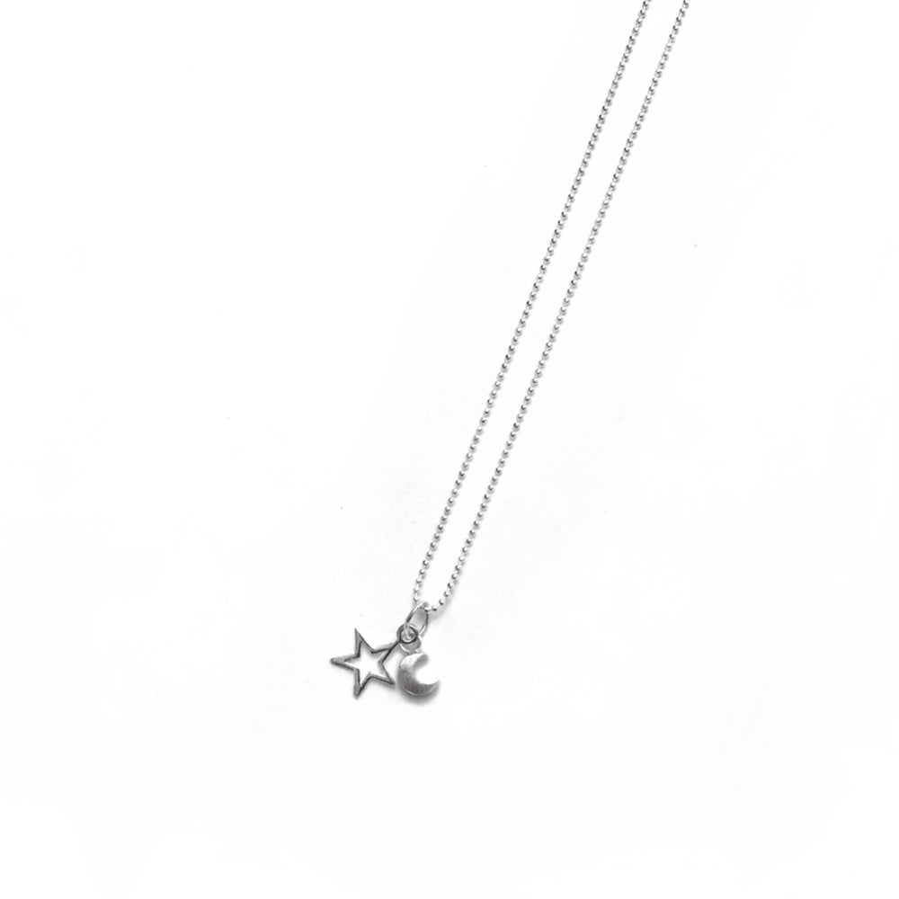 Image of Sterling Silver Star & Moon Necklace