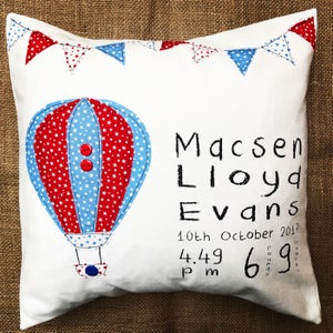 Image of Hot air balloon personalised cushion