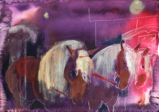 Image of Horses on purple 2