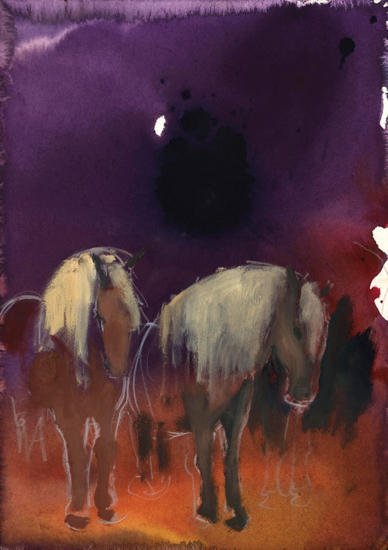 Image of Horses on purple 1