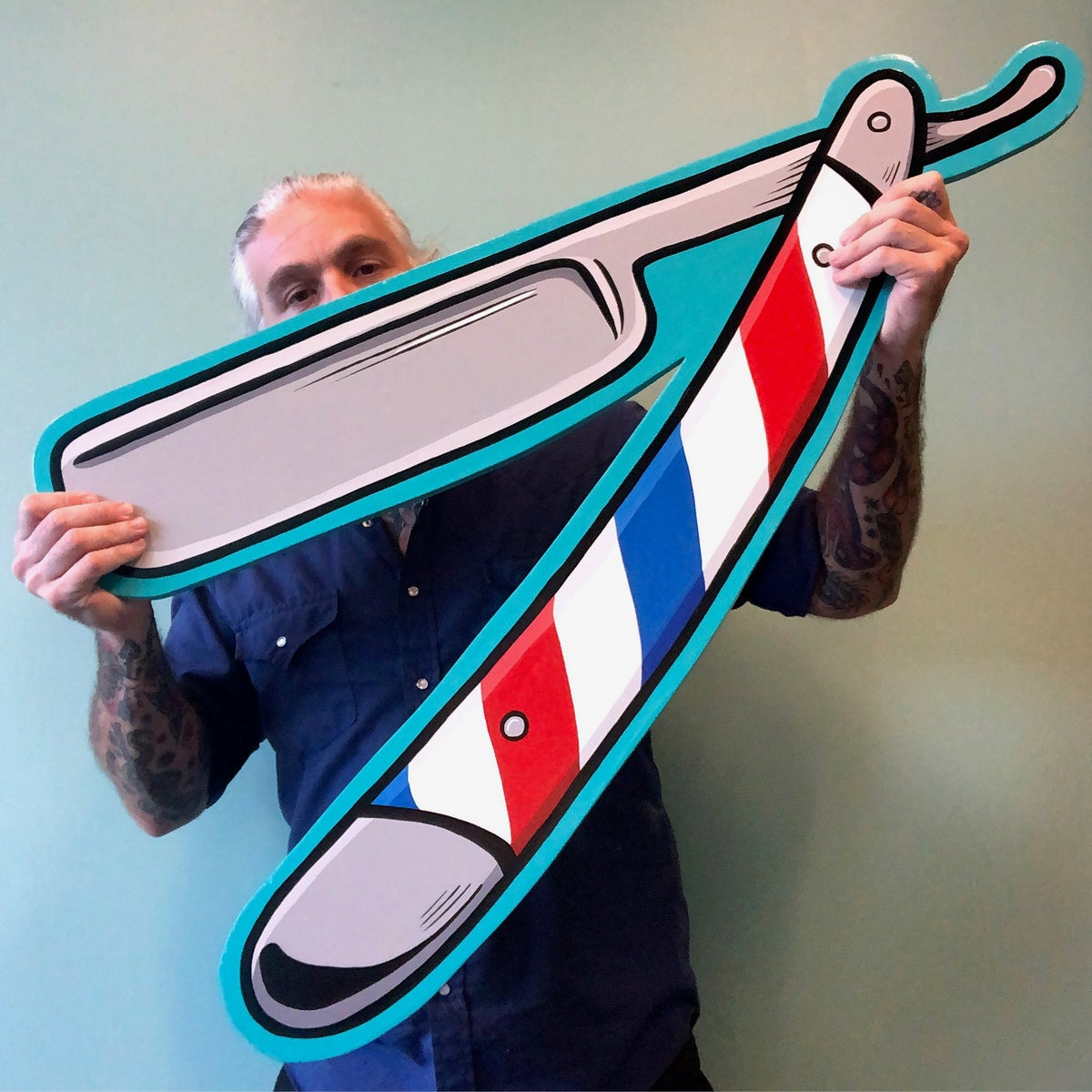 Image of Barber Pole Straight Razor- Hand Painted SIgn