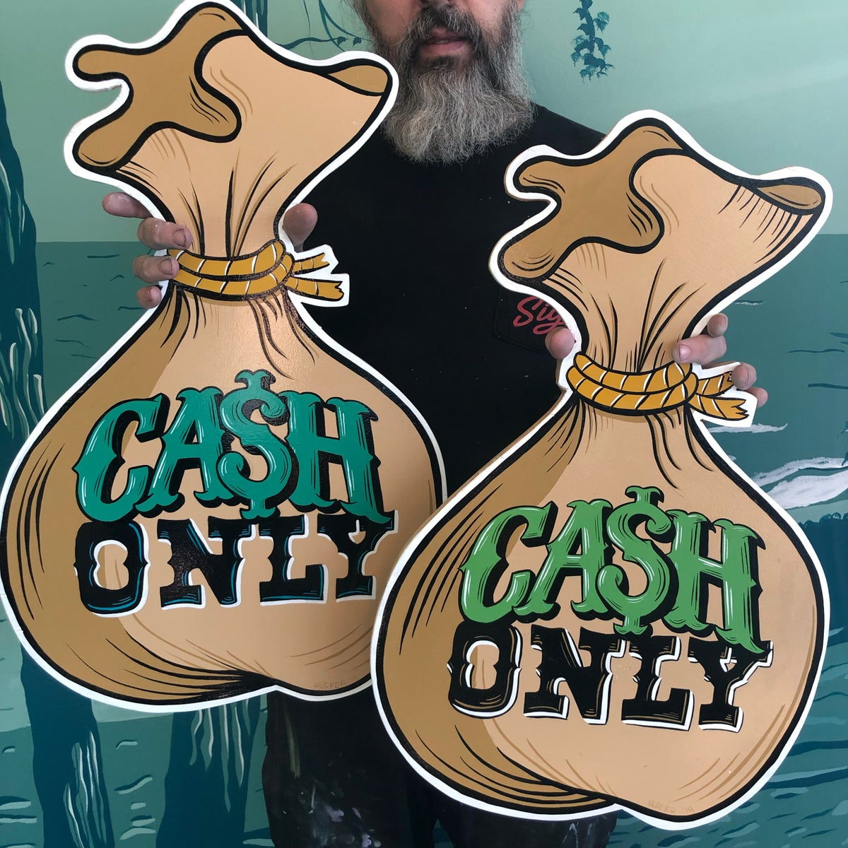 Image of Cash Only Money Bag- Hand Painted Sign