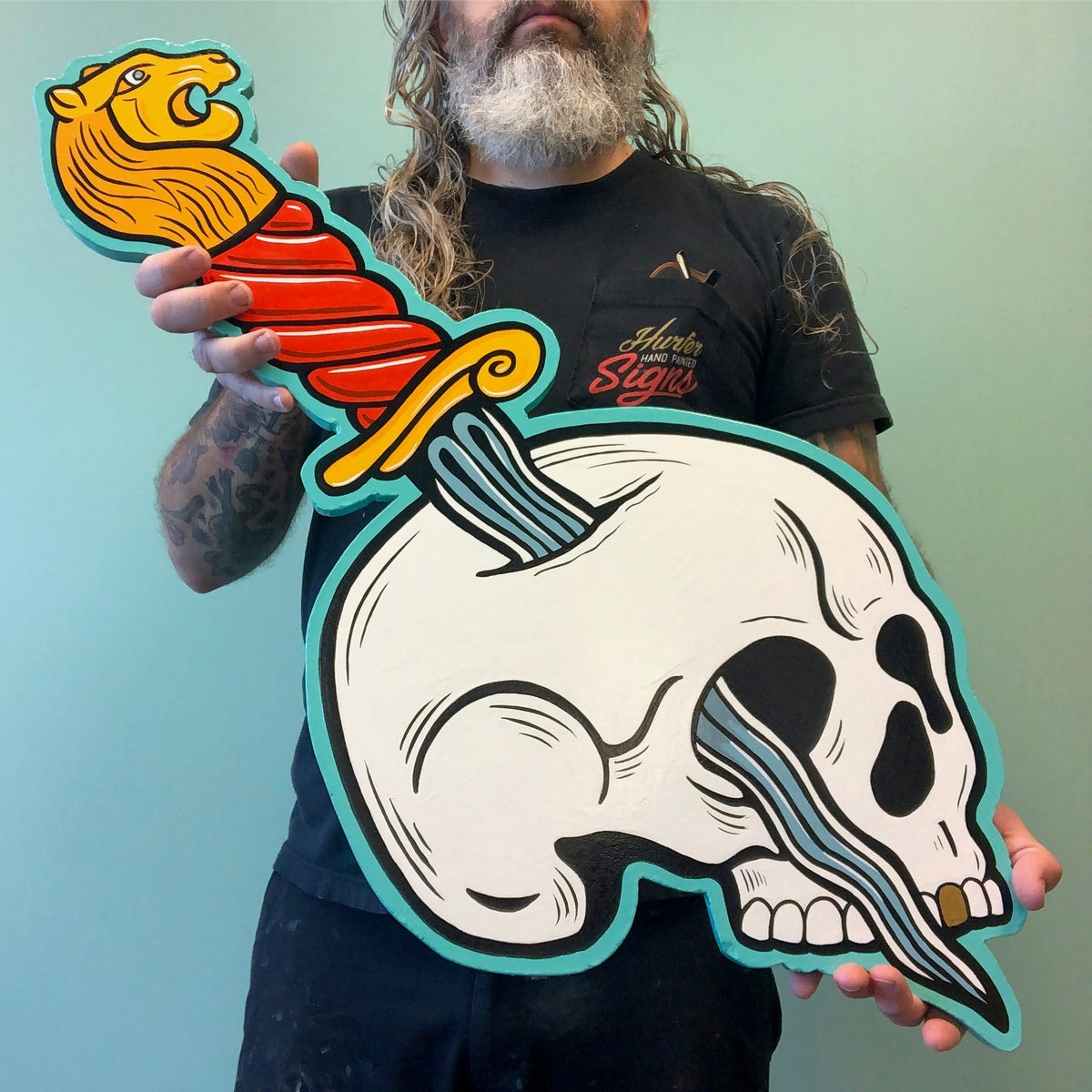 Image of Skull & Lion Dagger- Hand Painted Sign