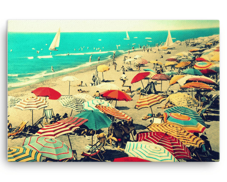 Image of Beach Art Canvas 24x36, Vintage Beach Umbrellas, Colorful Italy Beach Canvas Wall Art