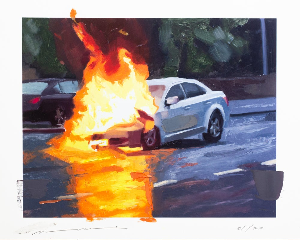 Image of Hot Wheels Hand-Embellished Print